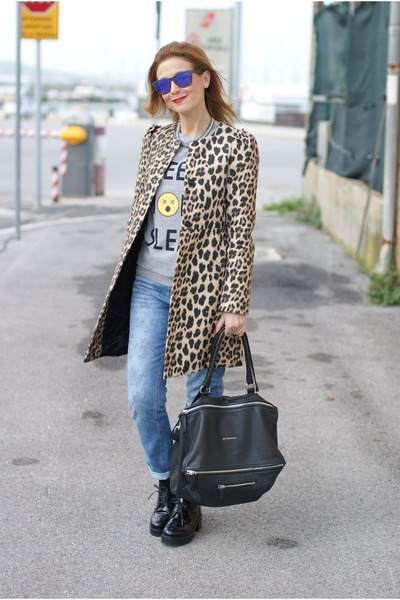 burnt orange leopard print Zara coat - periwinkle asos jeans