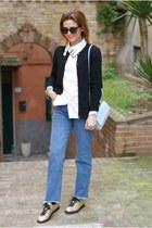 white cat collared Choies shirt - blue Bershka jeans - light blue Lazzari bag
