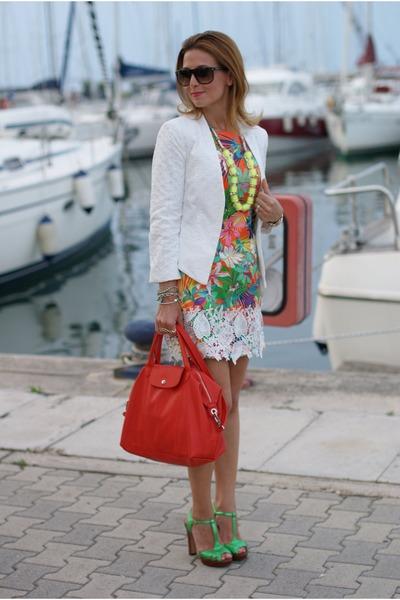 white lace Mango blazer - salmon julie dress - coral longchamp bag