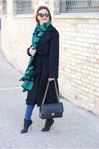 Black Max Mara Coat Green Jucca Scarf Chanel Bag