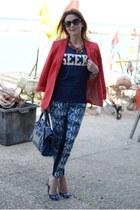 navy asos t-shirt - coral Zara jacket - blue balenciaga bag