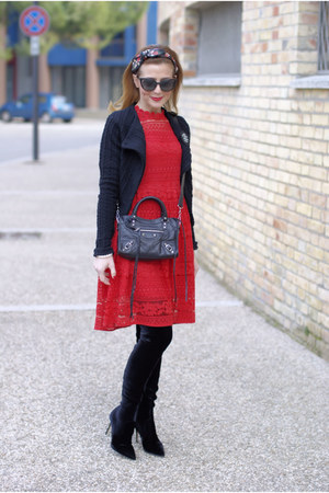 red Dezzal dress - black Le Silla boots - black balenciaga bag