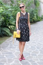 black yumi dress - hot pink LORIBLU shoes - yellow Rebecca Minkoff bag