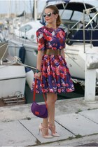 purple Kenzo bag - deep purple blooming roses Chicwish dress