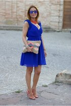 blue prom dress Little Mistress dress - camel Pull & Bear bag