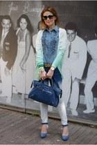 aquamarine ombre pull&bear cardigan - blue ruffled denim silvian heach shirt