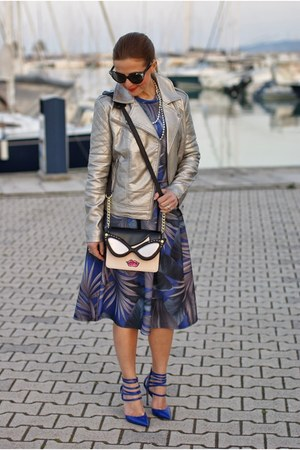 heather gray Betsey Johnson bag - silver asos jacket - blue asos skirt
