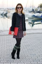 black suede cesare paciotti boots - black starry Zara dress