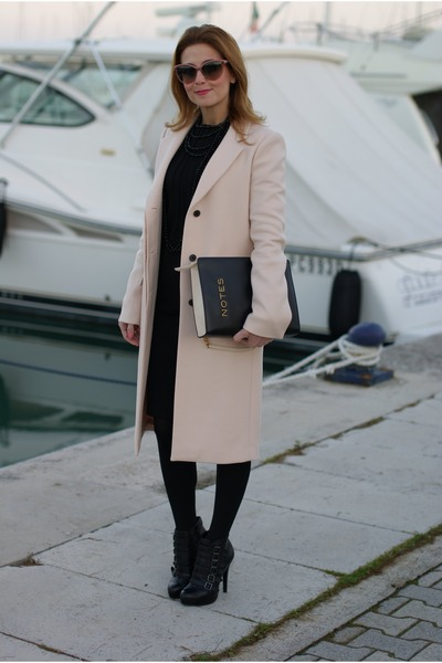 light pink Zara coat - black ASH boots - black Fabi dress