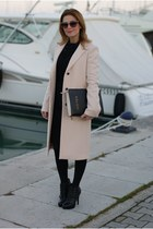 light pink Zara coat - black ASH boots - black Fabi dress