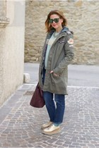 olive green happiness jacket - magenta Prada bag - gold Lorenzo Mari flats