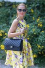 Yellow-zaful-dress-black-moschino-sunglasses-black-chanel-belt