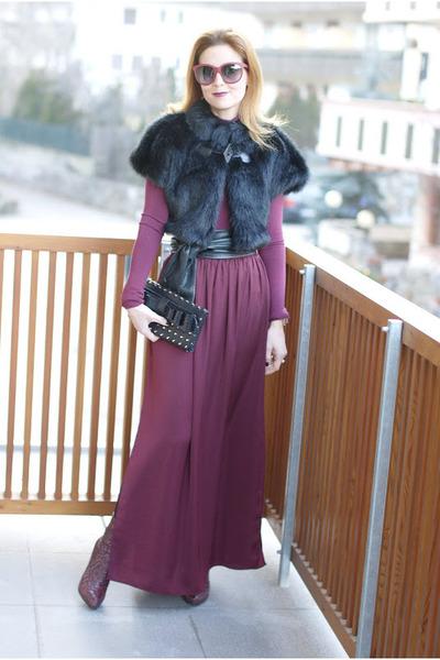 crimson maxi skirt Zara skirt - crimson ankle boots LORIBLU boots