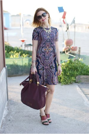 brick red Marc by Marc Jacobs bag - navy asos dress