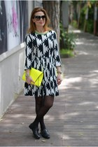 black asos dress - yellow clutch Zara bag - black Dolce & Gabbana sunglasses