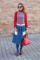 sky blue Opposes Complementaires skirt - red Givenchy bag - red Le Silla heels