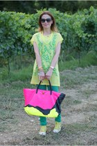 hot pink Marc Jacobs bag - turquoise blue Stradivarius pants