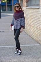 crimson poncho shaped SMASH sweater - black JADEA leggings - cream Miu Miu bag