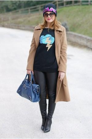 camel Max Mara coat - black Bershka hat - blue balenciaga bag