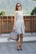 eggshell baroque brocade Zara dress - silver metallic Gucci bag