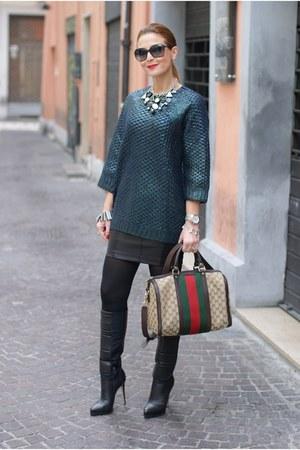 dark green H&M sweater - black Le Silla boots - red Gucci bag - black Zara skirt