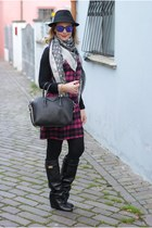 black Choies boots - hot pink tartan blugirl dress - black H&M hat