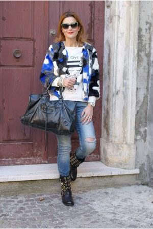 blue faux fur blackfive jacket - black SPAZIOMODA boots - sky blue Zara jeans