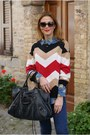 Blue-subdued-jeans-white-northland-sweater-black-balenciaga-bag