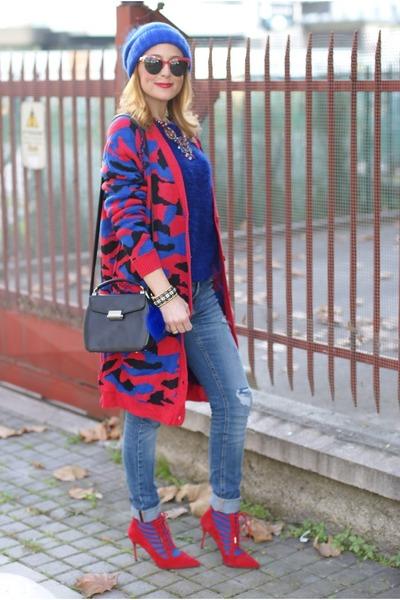 blue Yoins cardigan - blue Fabi hat - black mandarina duck bag