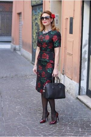 black rose print asos dress - black Givenchy bag