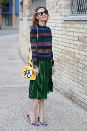 green Choies skirt - yellow PLAYNOMORE bag - black Fendi sunglasses
