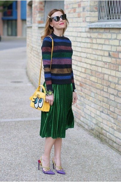 green Choies skirt - yellow PLAYNOMORE bag - black Fendi sunglasses