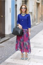 hot pink Choies skirt - black Givenchy bag - periwinkle Gaia deste heels