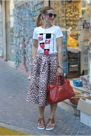 camel Choies skirt - burnt orange balenciaga bag