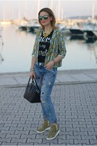 chartreuse Dixie jacket - sky blue Zara jeans - black Givenchy bag