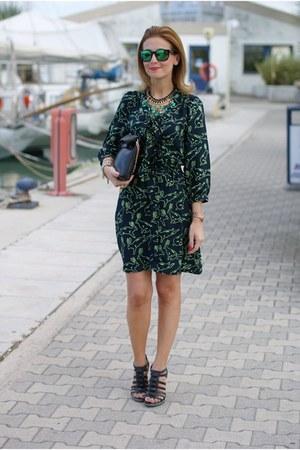 black Ruby Rocks dress - black Zara bag - green Oakley sunglasses