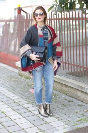 ruby red OASAP cape - bronze Le Silla boots - black Chanel bag