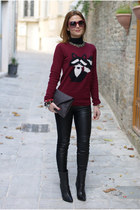crimson raccoon sweater pull&bear sweater - black Zara leggings