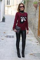 crimson raccoon sweater pull&bear sweater - black Zara leggings