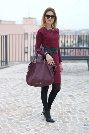 crimson H&M dress - black ankle boots cesare paciotti boots