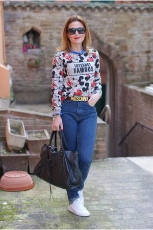 heather gray Bershka sweatshirt - blue zaful jeans - black balenciaga bag