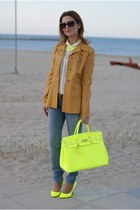 yellow bag - camel leather jacket Prada jacket - white Zara shirt
