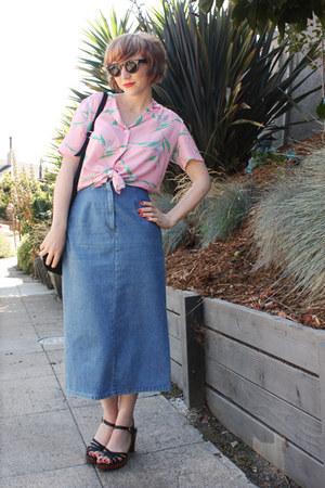 light pink hawaiian thrifted vintage shirt - Zara bag