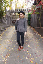 vintage boots - madewell jeans - vintage hat - cable knit Forever 21 sweater
