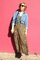 gili Aldo boots - leopard print vintage dress - chambray H&M shirt