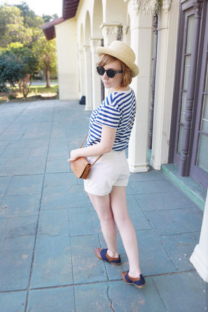 diy crop H&M top - DSW shoes - straw thrifted hat - vintage coach bag