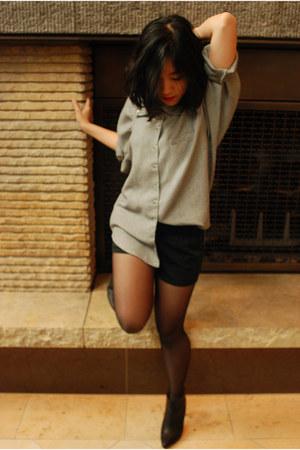 black MMM x H&M boots - vintage shirt - black Fq&D shorts