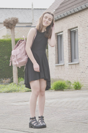 light pink Topshop bag - gray H&M dress - gray Topshop sandals
