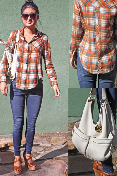 plaid top Haute Alternative top - denim skinnies citizens of humanity jeans