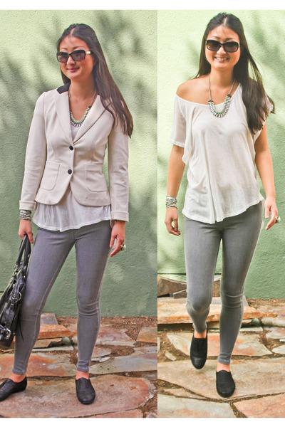 cream blazer kensie blazer - jean leggings HUE leggings